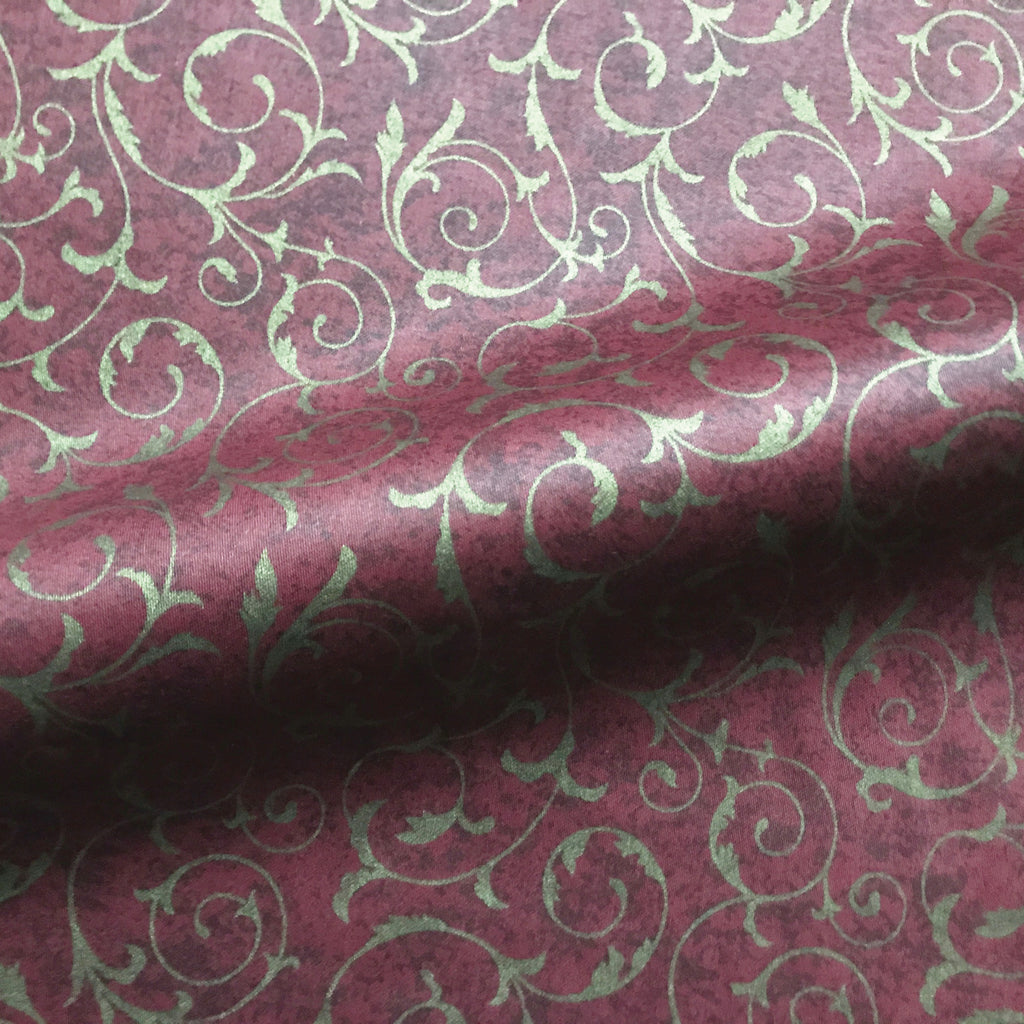 Maroon Traditional Botanical Scroll Cotton Fabric 54""