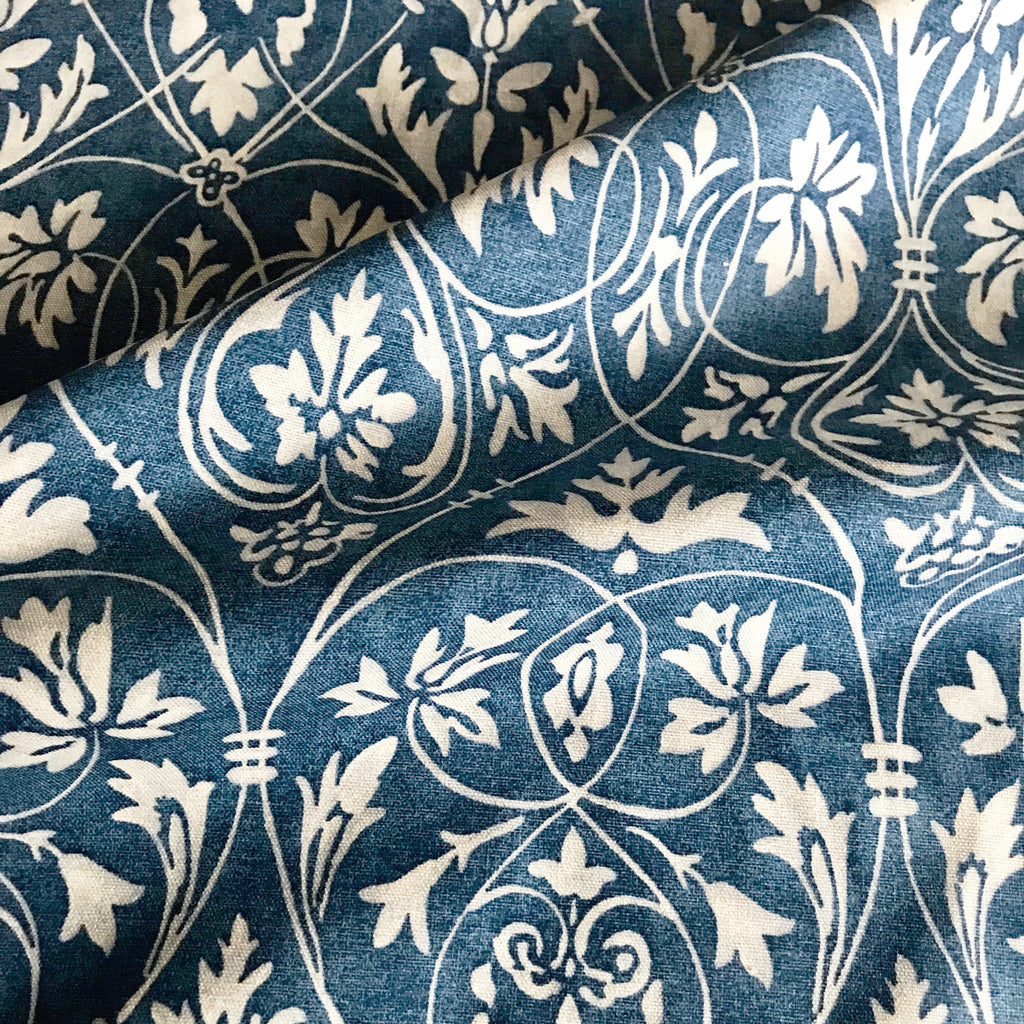 Blue Floral Print Cotton Upholstery Fabric