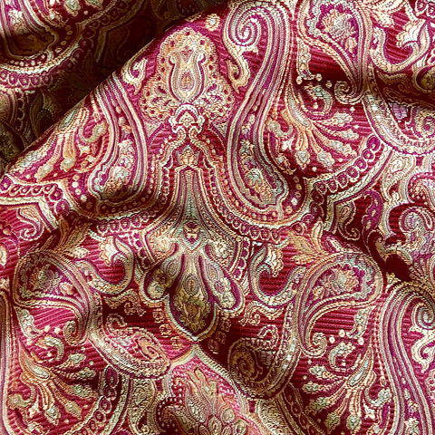 Rich Red Gold Brocade Upholstery Fabric