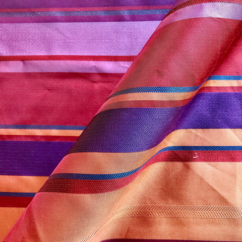 Vibrant Satin Striped Fabric
