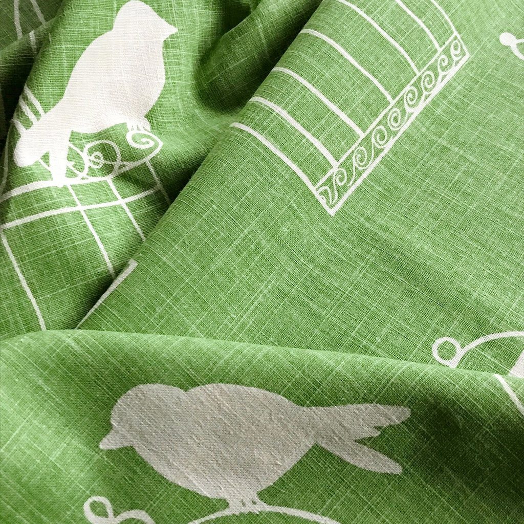 Green Linen Caged Bird Printed Fabric