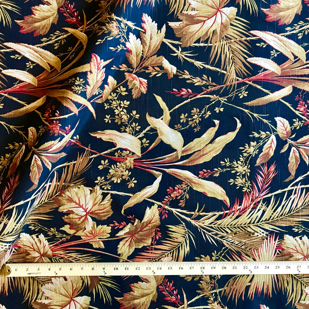 Brown Tropical Leaf Upholstery Fabric -54""