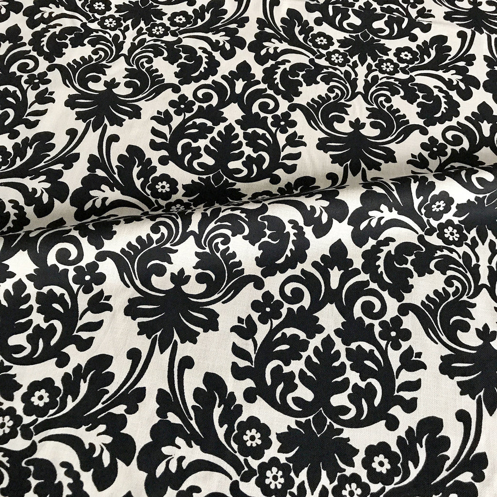 Black Ivory Victorian Style Floral Jacquard Upholstery Fabric