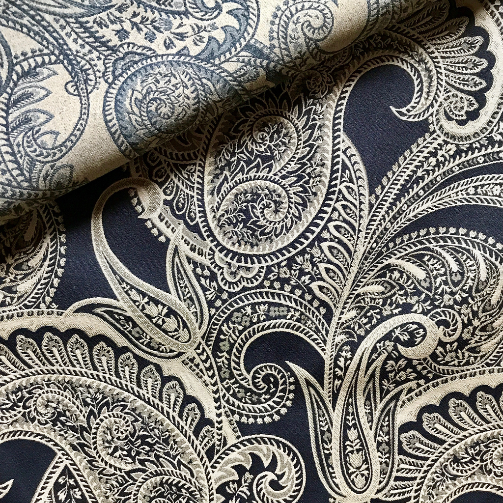 Dark Navy and Cream Paisley Jacquard Upholstery Fabric