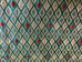 Green Gold Red Geometric Diamond Upholstery Fabric