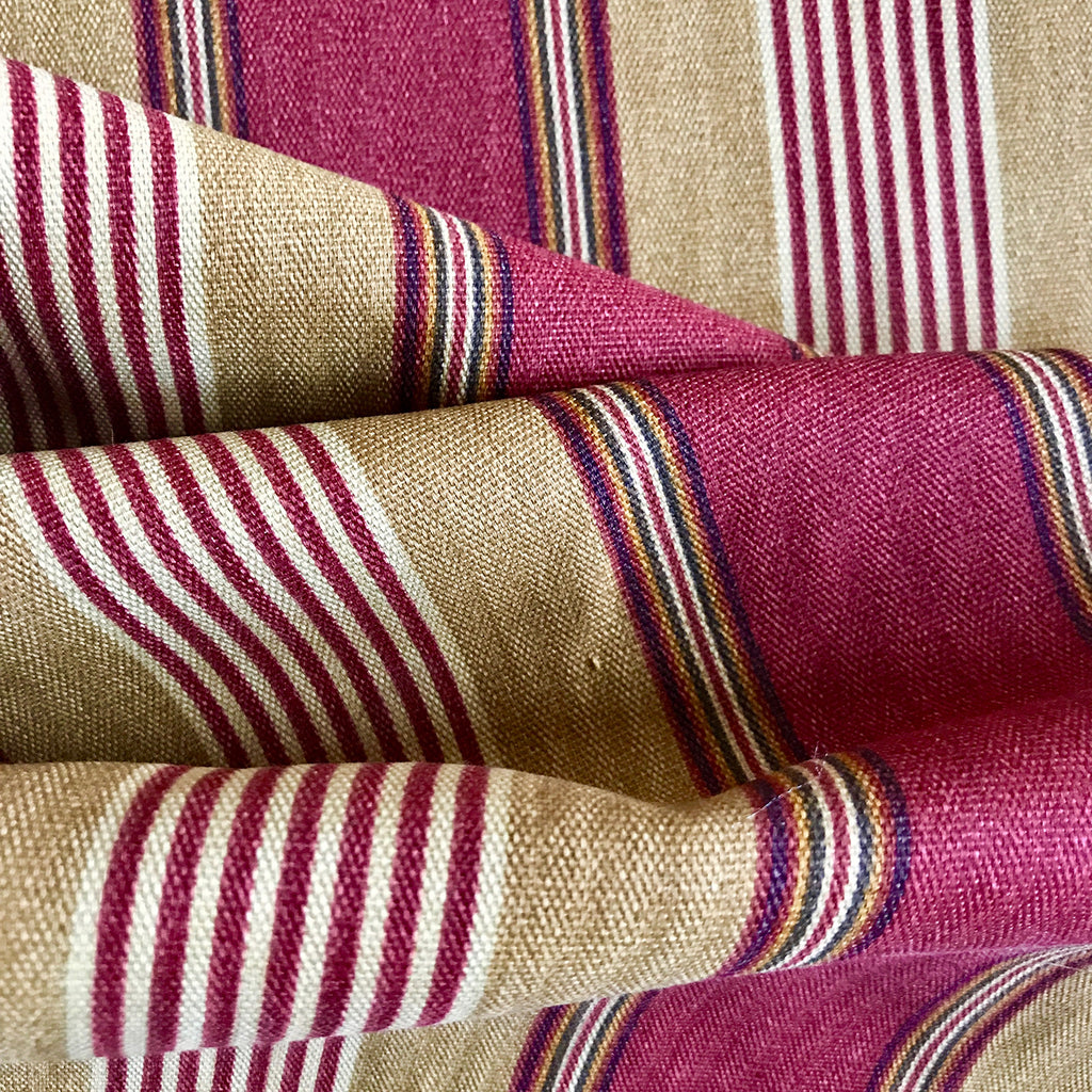 Beige Red Candy Stripe Upholstery Fabric