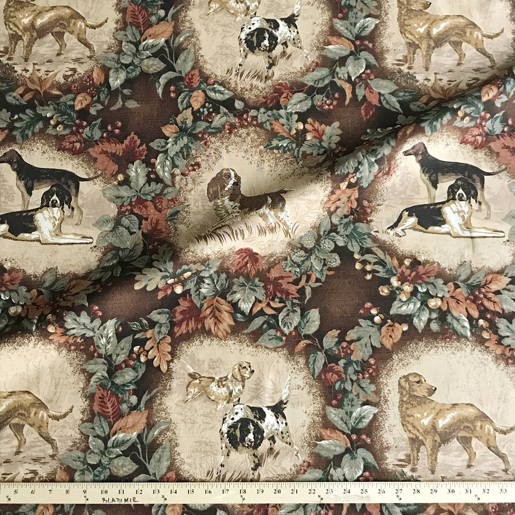 Hunting Dog Cotton Print Upholstery Fabric Plankroad Home Decor