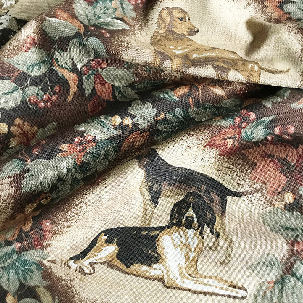 Hunting Dog Cotton Print Upholstery Fabric