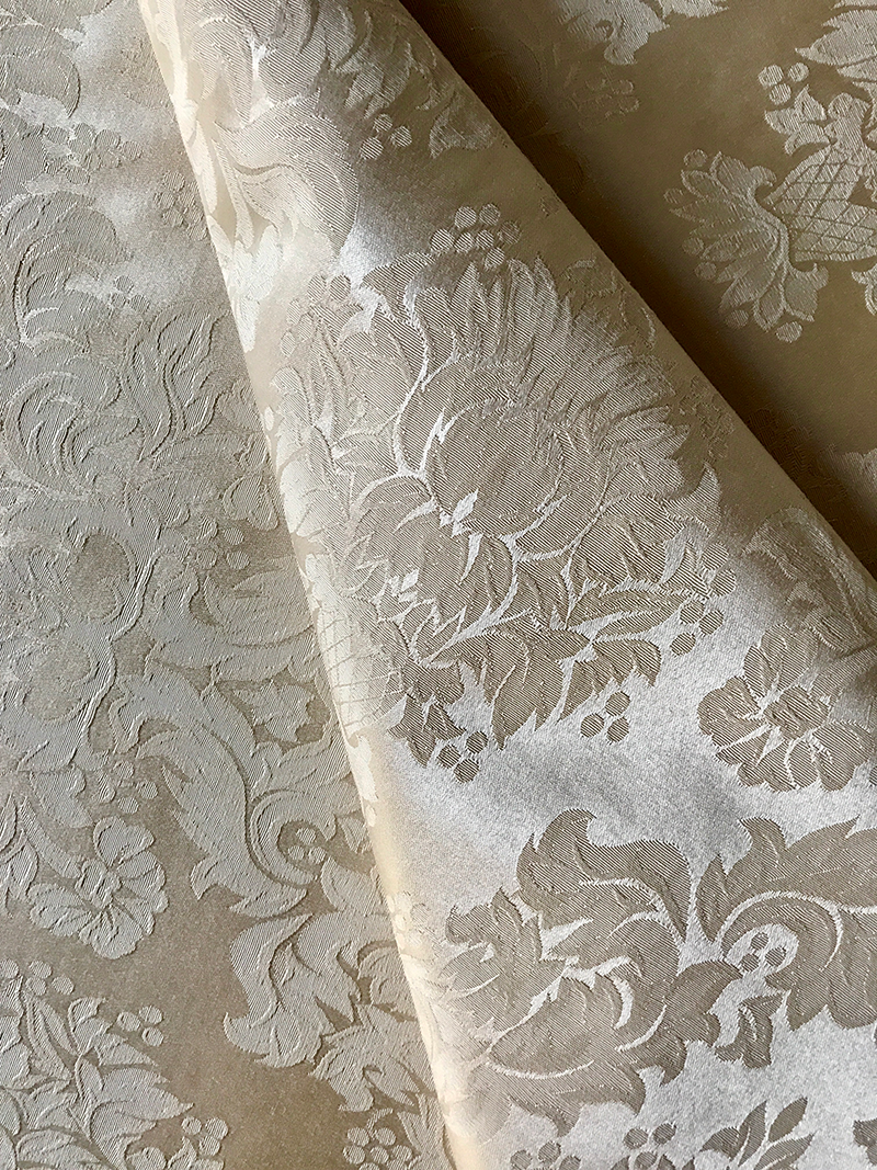 Ivory Floral Brocade Upholstery Fabric