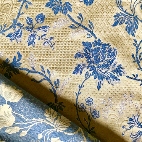 Floral Blue and Yellow Cotton Blend Matelasse Upholstery Fabric
