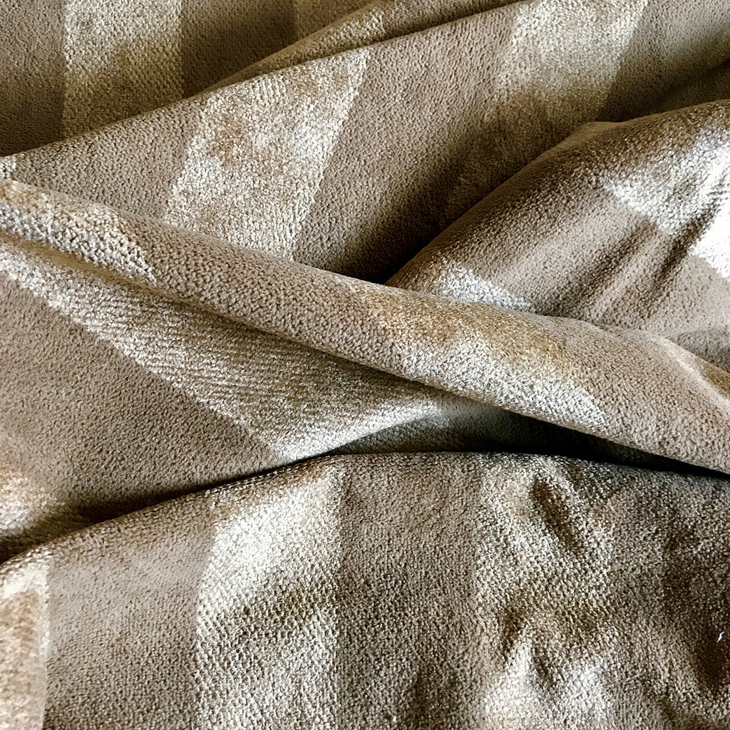 Brown Beige Velvet Stripe Upholstery Fabric