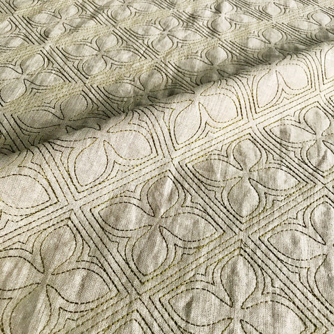 Embroidered Quilted Linen Fabric