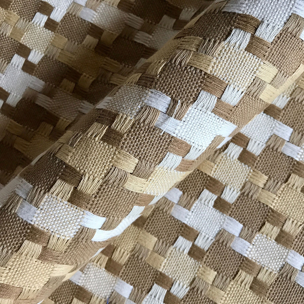 Beige Woven Damask Upholstery Fabric