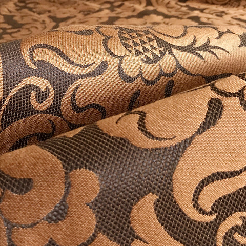 Bronze Floral Damask Upholstery Fabric