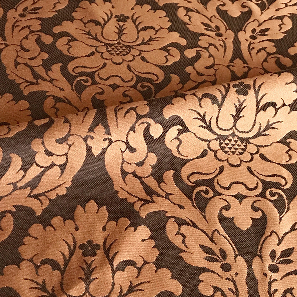 Bronze Floral Victorian Style Damask Upholstery Fabric