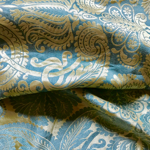 Victorian Style Blue and Yellow Jacquard Upholstery Fabric