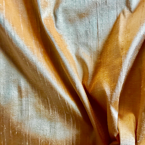 Solid Gold Shantung Silk Fabric - 44""