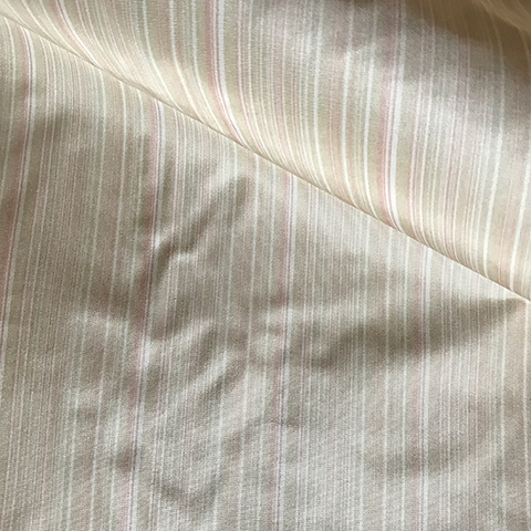 100% Indian Silk Beige and Pink Striped Upholstery Fabric