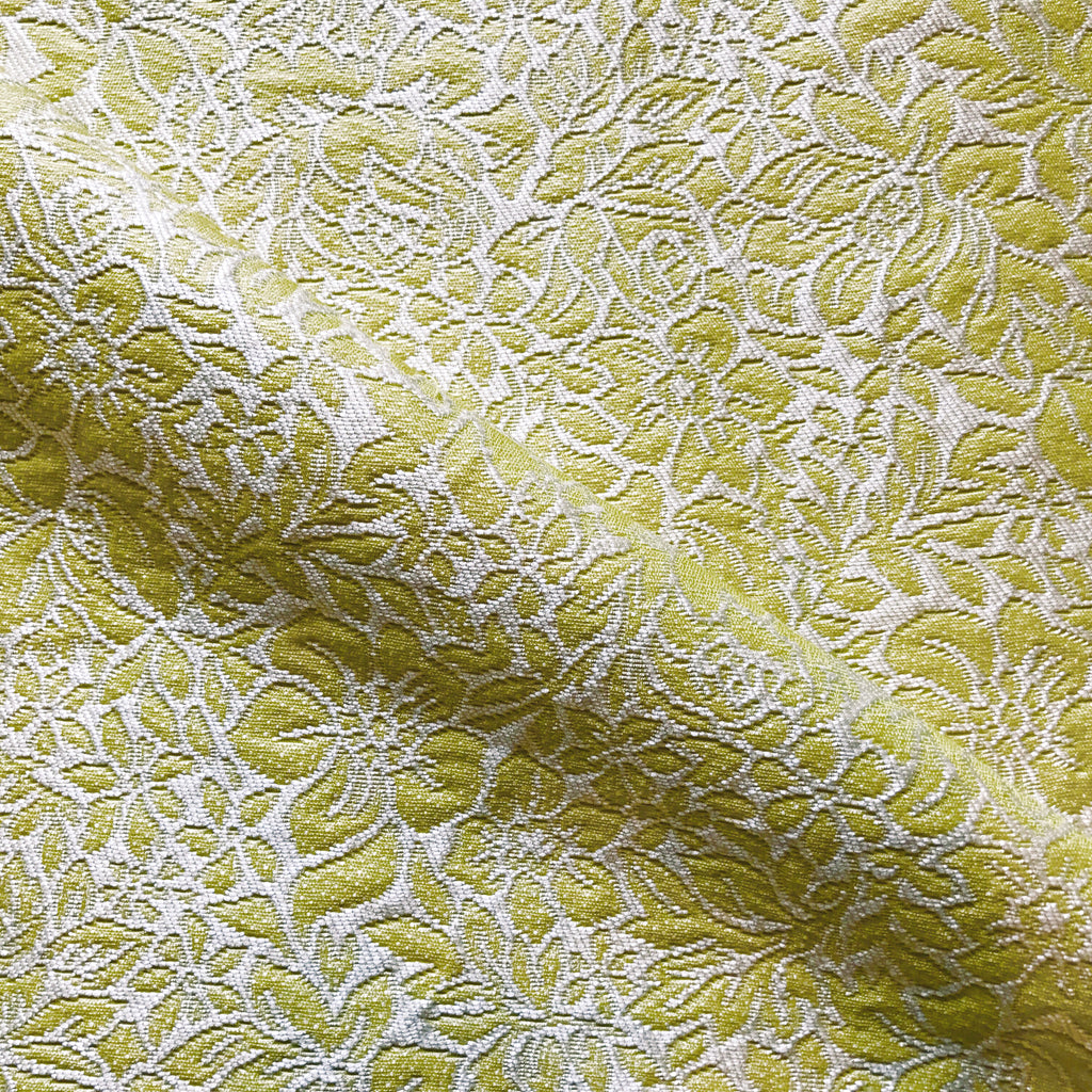 Citron Ivory Floral Matalesse Upholstery Fabric - 54""