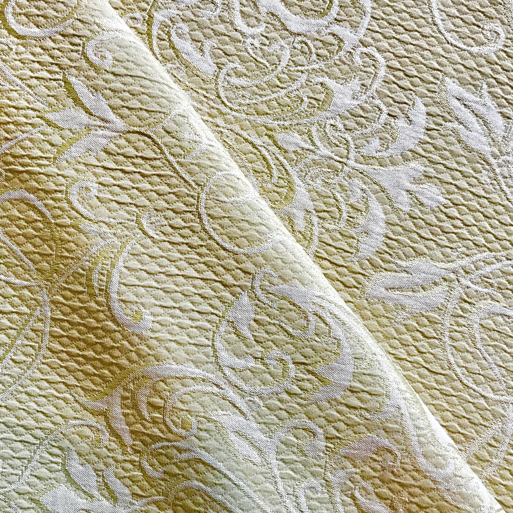 Citron Ivory Geometric Matalesse Upholstery Fabric