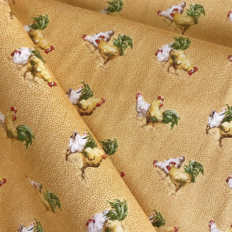 Vintage Yellow Rooster Print Upholstery Fabric