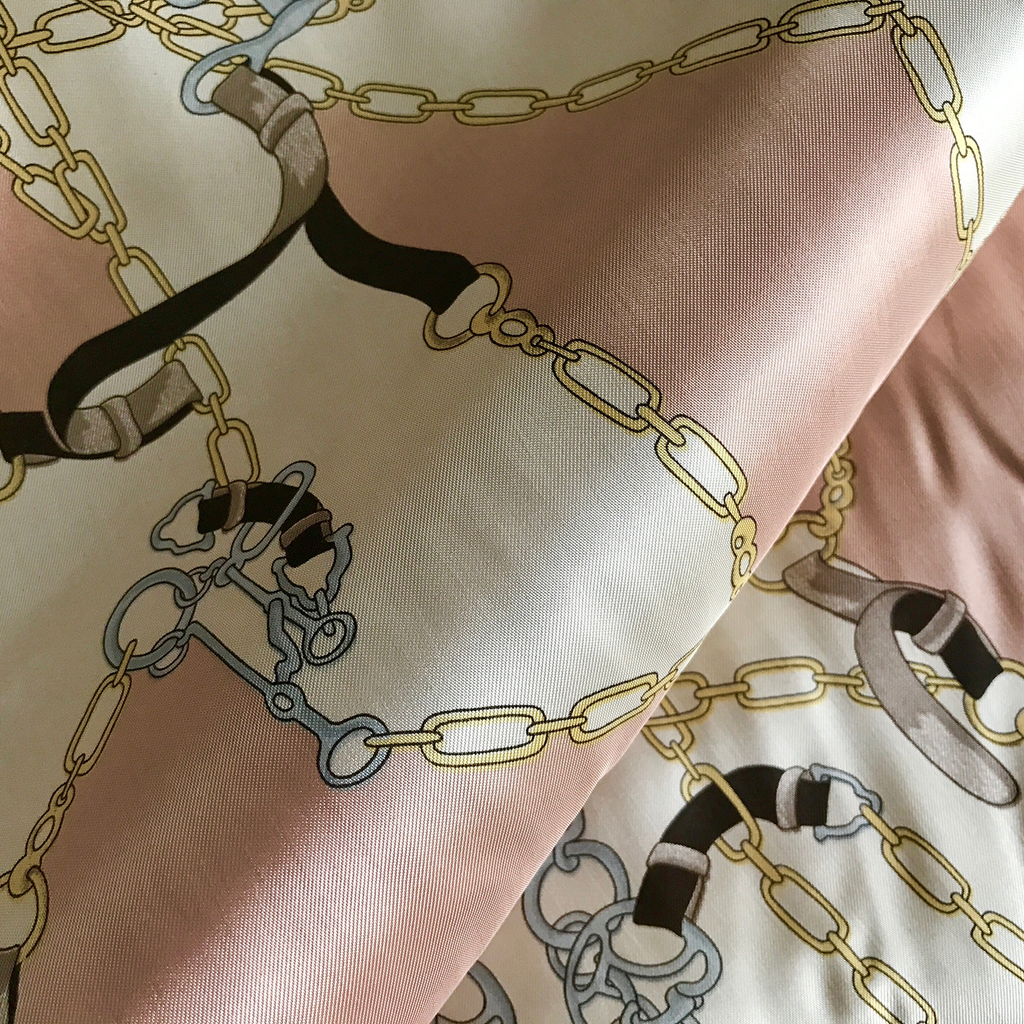 Pink Ivory Silk Harness Print Fabric