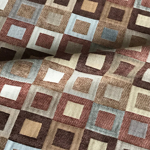 Fall Hued Check Box Velvet Upholstery Fabric