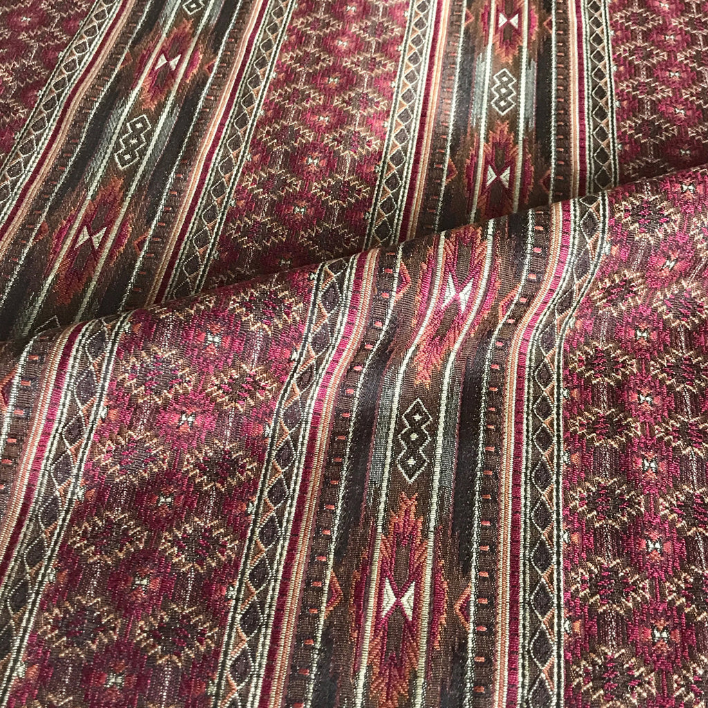 Burgundy Woven Navajo Pattern Upholstery Fabric