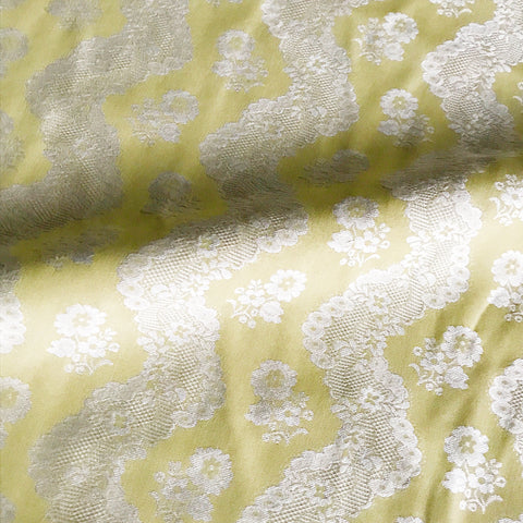 Citron Ivory Doily Upholstery Fabric