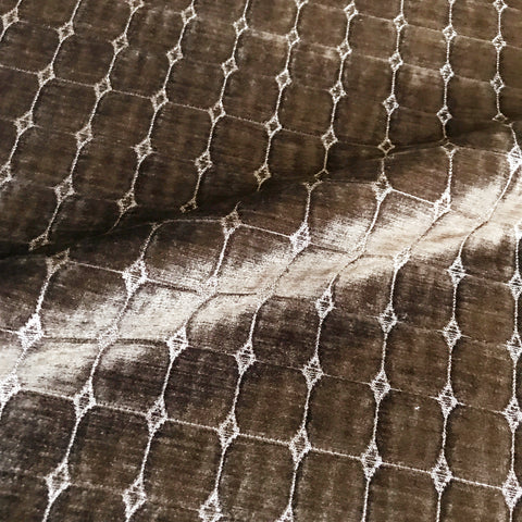 Brown Diamond Pleated Velvet Upholstery Fabric