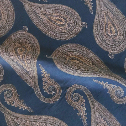 Navy Copper Paisley Jacquard Upholstery Fabric