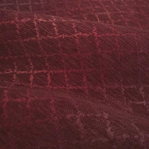 Diamond Pleated Burgundy Velvet Luxury Upholstery Fabric