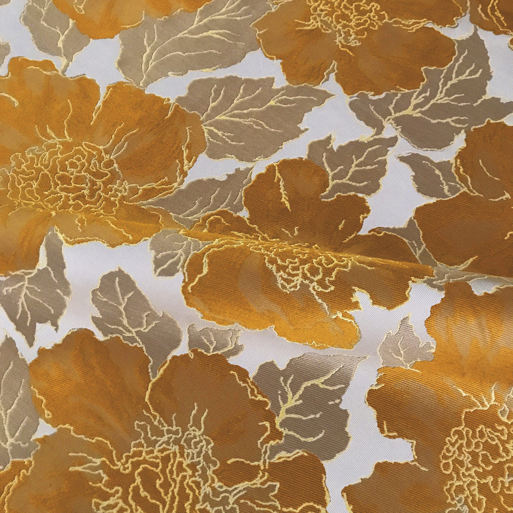 Metallic Sunflower Silk Brocade Luxury Woven Upholstery Fabric