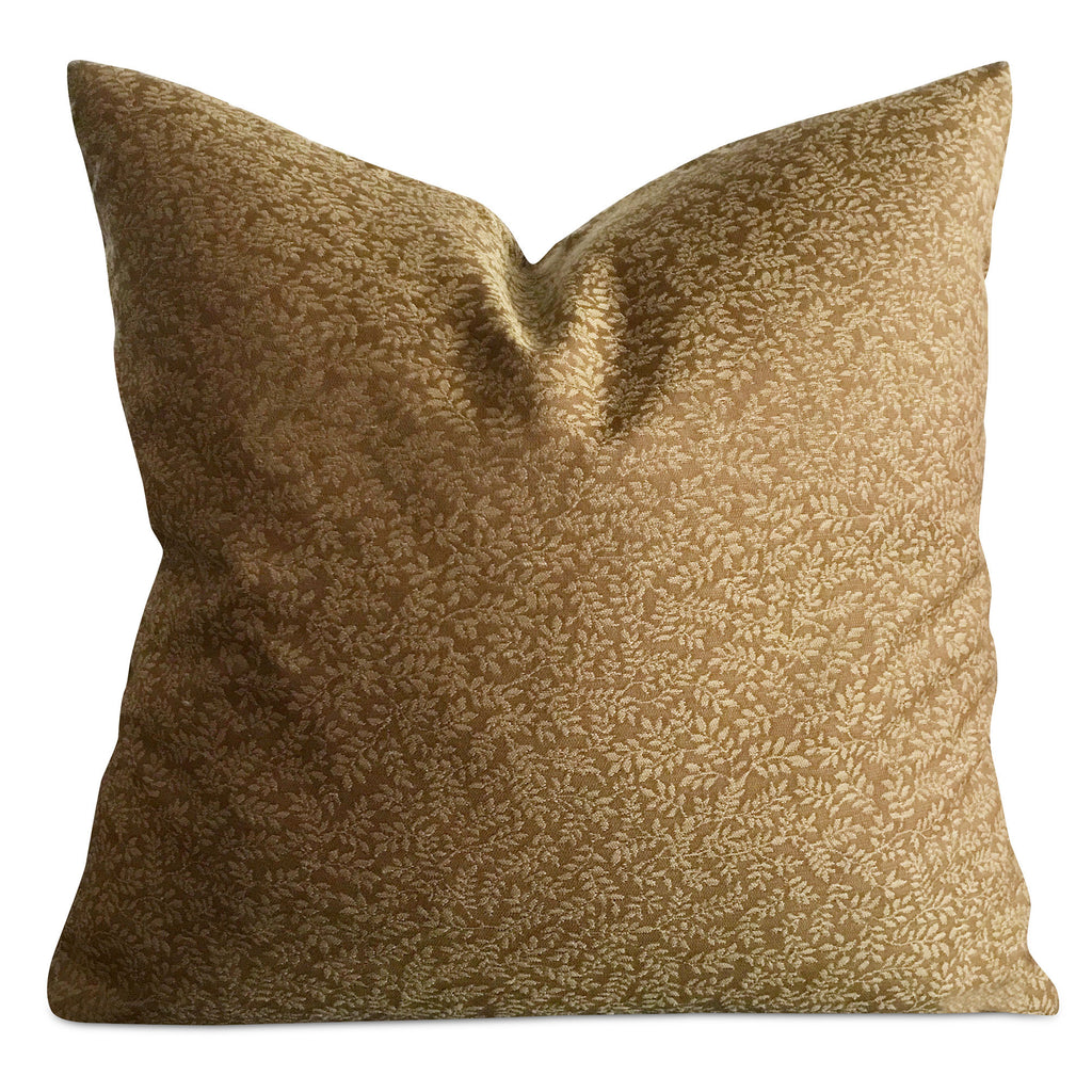 "22""x 22"" Olive Brown Leaf Luxury Woven Decorative Pillow Cover"