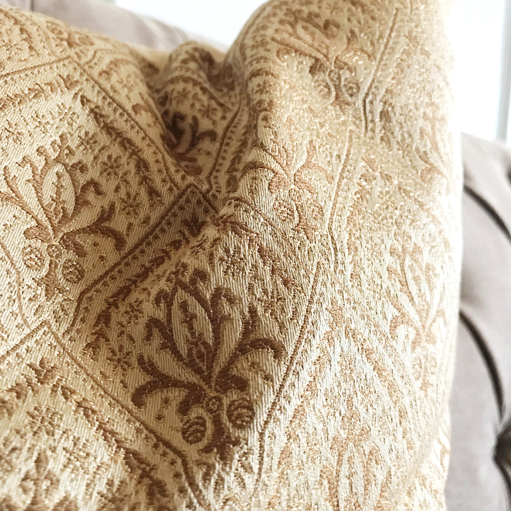 "French Royal Gold Trellis Jacquard Woven Accent Pillow Cover 15"" x 26"""