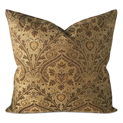 "22"" x 22"" Olive Green Brown Jacquard Decorative Pillow Cover"