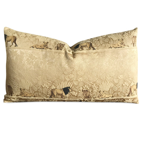 "15""x 26"" Gold Lion Safari Luxury Woven Decorative Pillow Cover"
