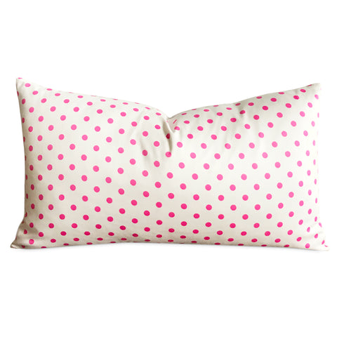 "15""x 26"" Girls Pink and White Polka Dot Decorative Pillow Cover"