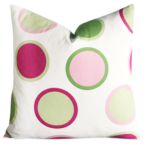 "22""x 22"" Pink and Lime Green Large Polka Dot Decorative Pillow Cover"