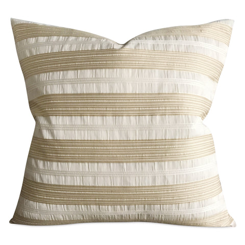 "22""x 22"" Taupe and Ivory Silk Striped Textured Modern Luxury Woven Decorative Pillow Cover"