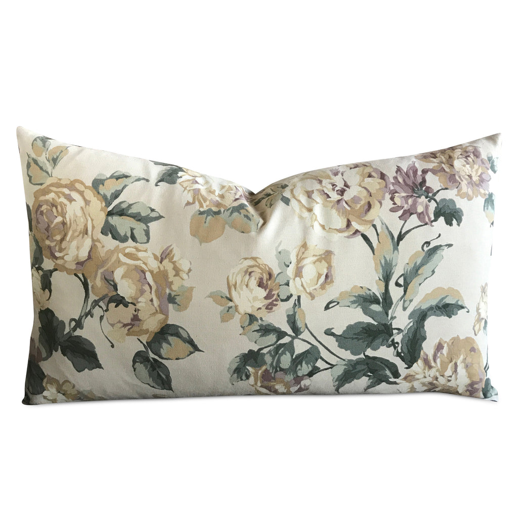 "15""x 26"" English Garden Floral Luxury Rectangular Decorative Pillow Cover"