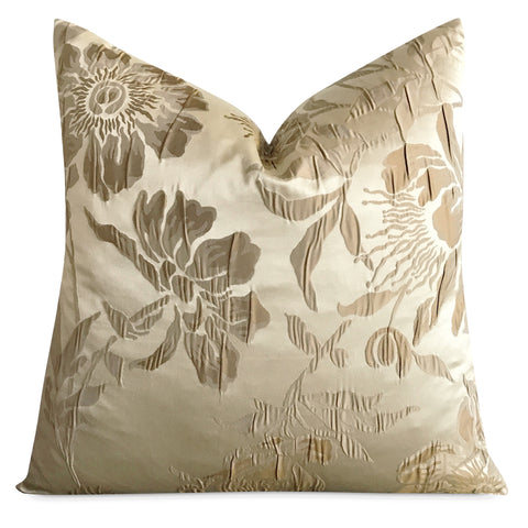 "22""x 22"" Gold Floral Silk Textured Luxury Woven Decorative Pillow Cover"