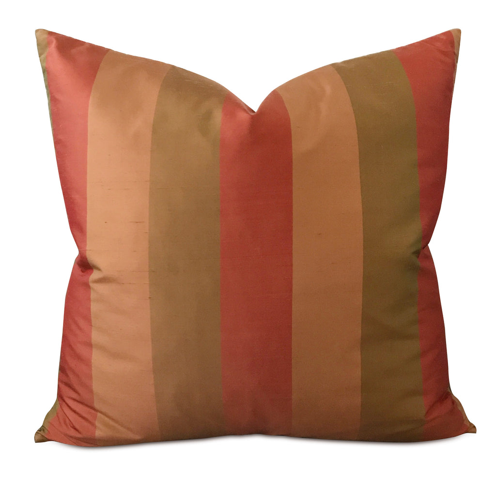 "22"" x 22"" Silk Green Orange Large Striped Decorative Pillow Cover"
