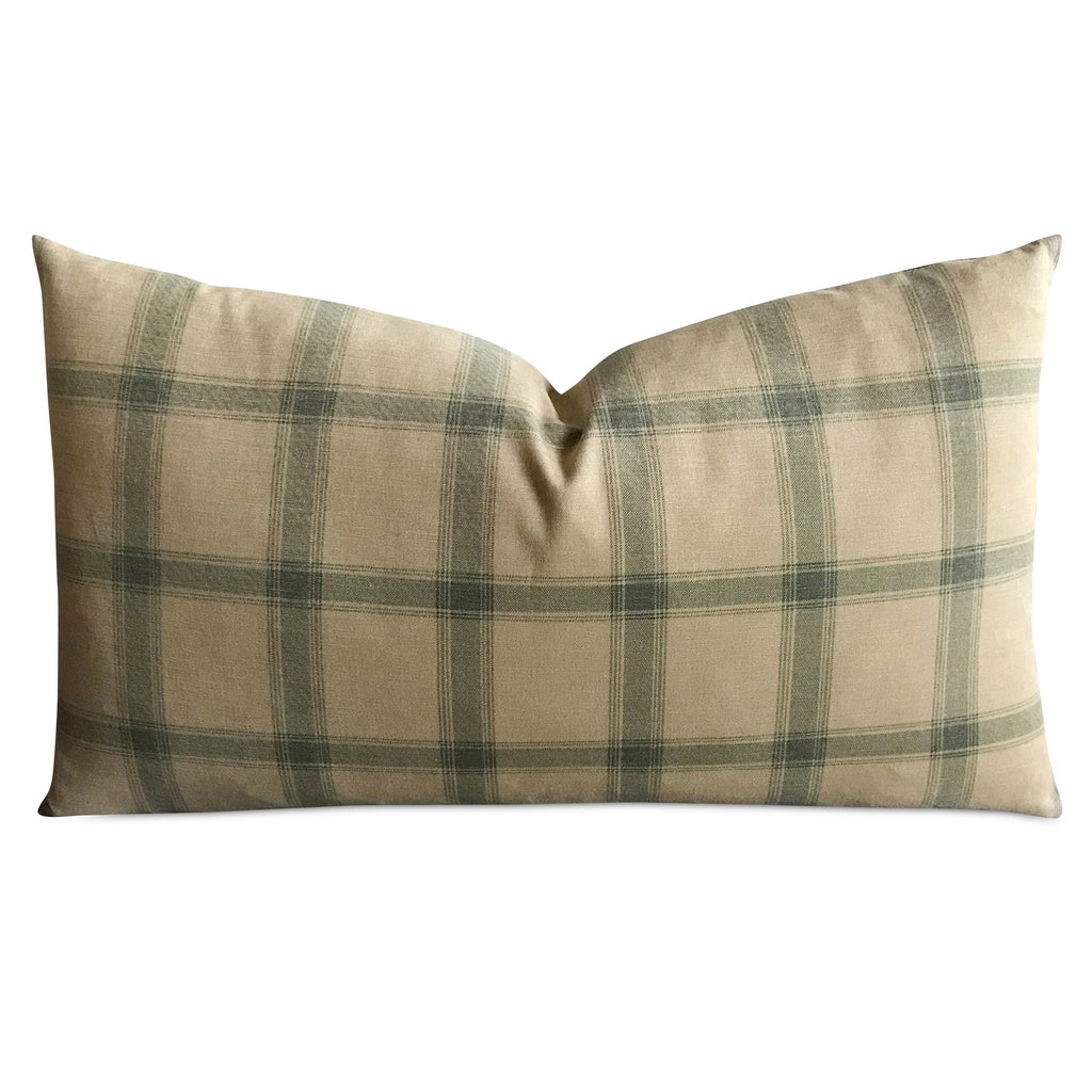 "15""x 26"" British Country Moss Green Plaid Luxury Woven Decorative Pillow Cover"