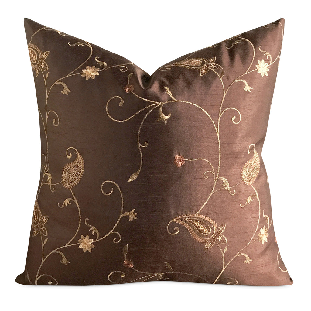"22"" x 22"" Silk Brown Gold Floral Luxury Embroidered Decorative Pillow Cover"