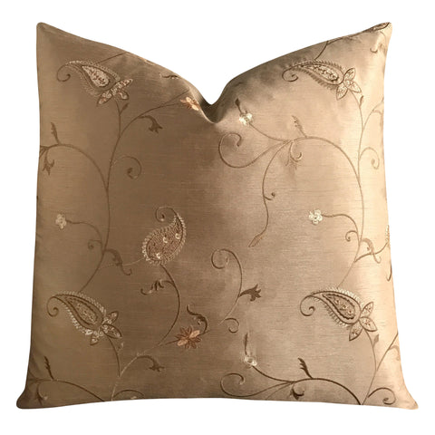 "22""x 22"" Silk Taupe Gold Floral Embroidered Luxury Decorative Pillow Cover"
