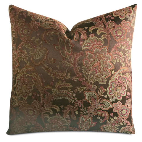 "22""x 22"" Brown Red Floral Jacquard Luxury WovenDecorative Pillow Cover"