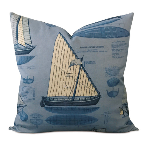"22"" x 22"" Blue Sailboat Print Decorative Pillow Cover"
