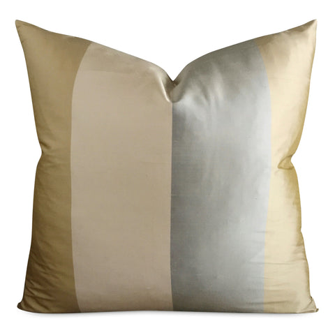 "22"" x 22"" Lancaster Silk Wide Stripe Luxury Decorative Pillow Cover"