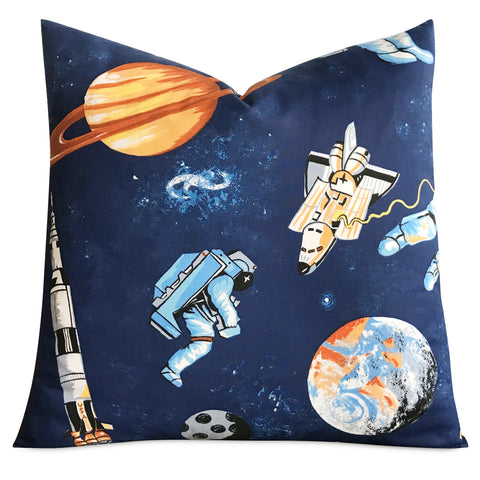 "20""x 20"" Kids Blue Space Astronaut Print Decorative Pillow Cover"